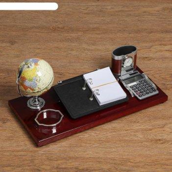 Набор настольный 6в1 (часы, калькулятор, мод. ,карандашница, глобус, блокн