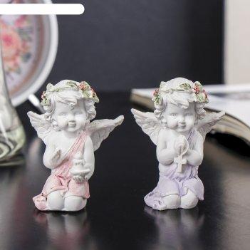 Сувенир полистоун белый ангел в рябиновом веночке со свечой/крестом микс 6