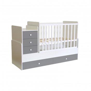 Кроватка-трансформер polini kids simple 1111 с комодом, цвет белый/серый