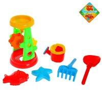 Песочный набор океан 6 предметов: мельница, лейка, 2 формочки, грабли, лоп