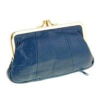 Кошелек-косметичка, 2 отдела на рамке, 2 наружных кармана, синий