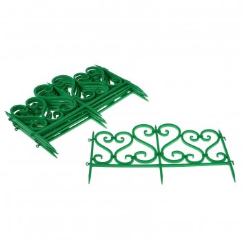 Ограждение декоративное, 32 x 300 см, 6 секций, пластик, зелёное