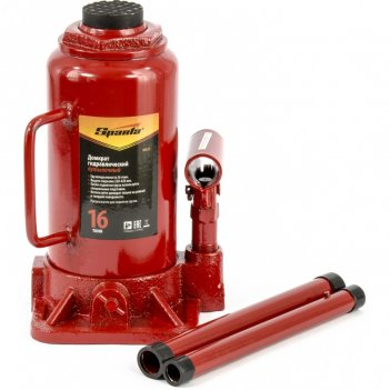 Домкрат гидравлический бутылочный, 16 т, h подъема 220-420 мм sparta