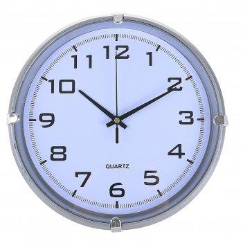 Часы настенные, серия: классика, модерн, серебро, 24.5х24.5 см