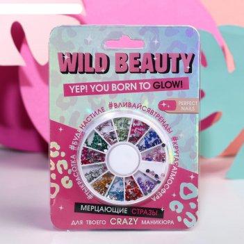 Сверкающие стразы в круглой палетке wild beauty, 12 цветов