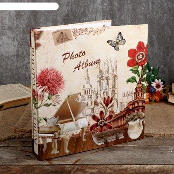 Фотоальбом магнитный 20 листов музыка, цветы и башня микс 29х28х2 см