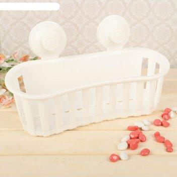 Держатель для ванных принадлежностей на вакуммных присосках, цвет белый