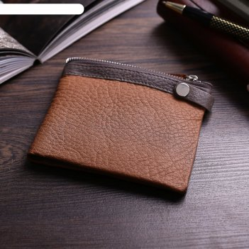 Кошелёк мужской бертон 2 отдела, отдел для кредиток, цвет коричневый