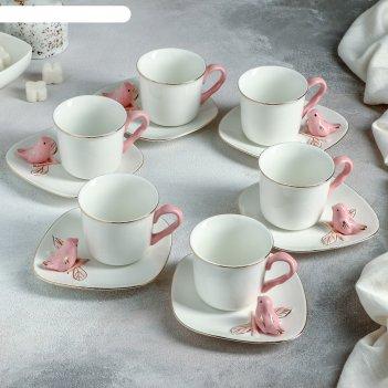 Сервиз кофейный 12 шт калибри 6 чашек 120 мл, 9,5х7х6 см, 6 блюдец 14,5 см