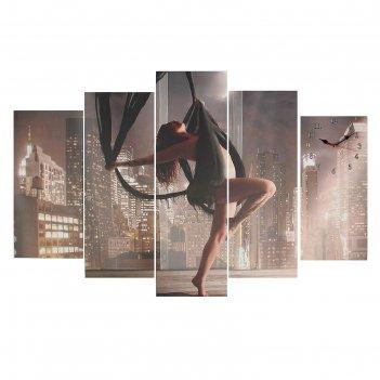 Часы настенные модульные «девушка на качелях», 80 x 140 см