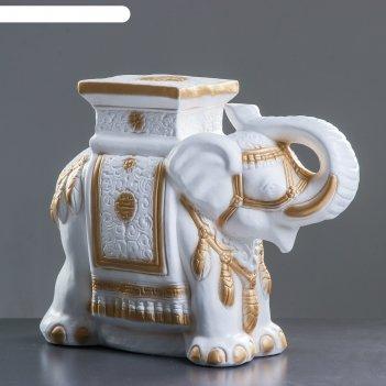 Статуэтка слон, бело-золотой