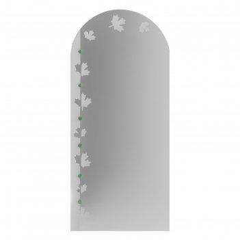 Зеркало «клён», с пескоструйной графикой и фьюзингом, настенное, 50x110 см