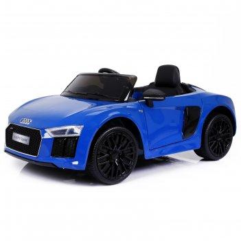 Электромобиль audi r8 spyder, окраска глянец синий, eva колеса, кожаное си