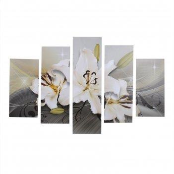 Модульная картина лилия (2-20х60, 2-30х80, 30х100) 158х100см