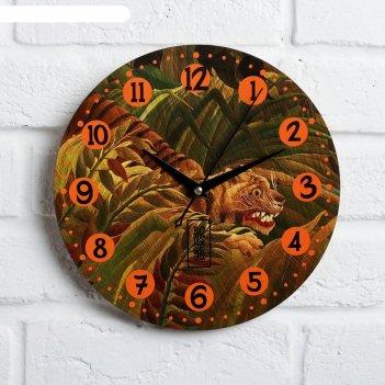 Часы дерево настенные тигр