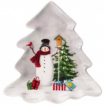 Блюдо для сервировки коллекция веселые снеговики 21,6*20,5*2,3 см