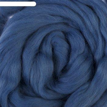 Шерсть для валяния 100% полутонкая шерсть 50 г (022, джинса)