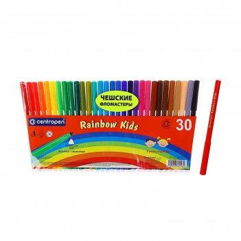 Фломастеры centropen rainbow kids 7550/30, 1,0 мм, 30 цветов, в пластиково
