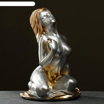 Фигура девушка сидябольшая серебро, 58х45х40см