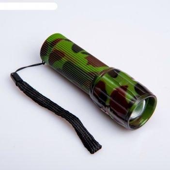 Фонарик ручной камуфляж, 1 led, zoom, ручка ребристая, 3 ааа, 10 см