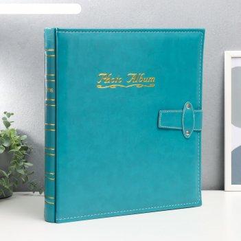 Фотоальбом на 500 фото 10х15 см с застёжкой - зелёный кожзам, чёрные листы