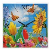 Часы настенные прямоугольные цветы и бабочки, 50х50 см