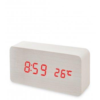 Ял-07-09/15 часы электронные (белое дерево с красной подсветкой)