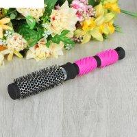 Брашинг №1 металл d4*25(±1)см прорезин ручка черный с розовым