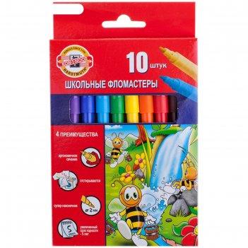 Фломастеры 10 цветов koh-i-noor пчелка, трёхгранные