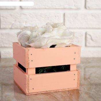 Ящик-кашпо двушка, сердний, персиковое, 11х12х9см