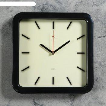Часы настенные классика , плавный ход, 1аа, 29х29см, черные