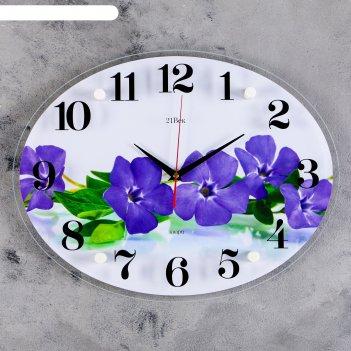 Часы настенные овальные фиалки, 35х46 см