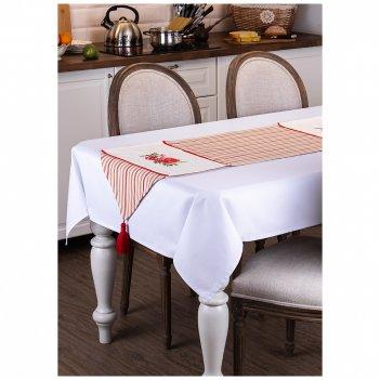 Дорожка на стол  гранат 150х43см, 100%хб,полоска красная, вышивка