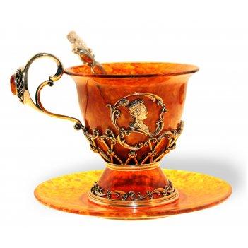 """Чашка чайная """"екатерина"""" из янтаря"""