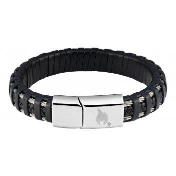 Браслет zippo, чёрный, нержавеющая сталь/натуральная плетёная кожа, 20x1,4