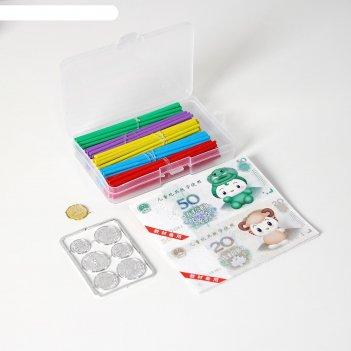 Счётные палочки в пластиковой коробке, большие, разноцветные