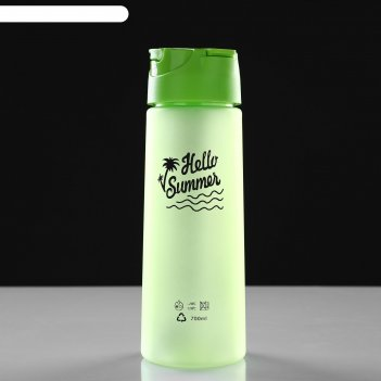 Бутылка для воды 700 мл hello summer, матовая, крышка с трубкой, микс, 7.5