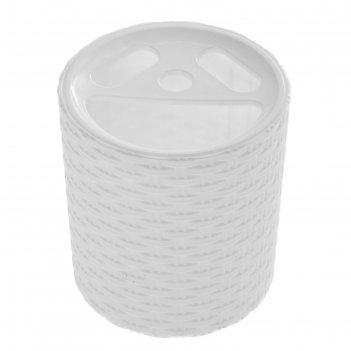 Подставка плетёнка для зубных щеток  белый
