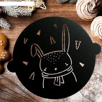 Трафарет для выпечки «новогодний заяц», 30 x 35 см