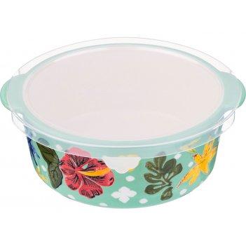 Блюдо для запекания с пластиковой крышкой диаметр=18 см. высота=7 см. (кор