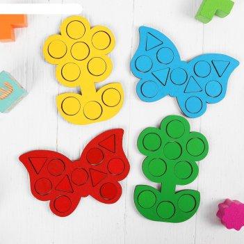 Мозаика бабочки и цветочки, 15 x 10 см