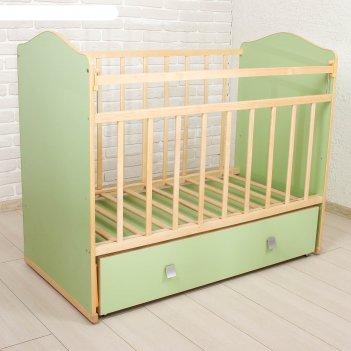 Детская кроватка морозко с поперечным маятником и ящиком, цвет зеленый