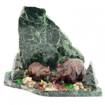 Сувенир медведица с медвежонком змеевик