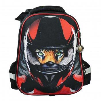 Рюкзак каркасный hatber ergonomic 37*29*17 мал moto, чёрный/красный nrk_30