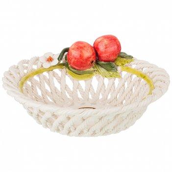 Изделие художественно-декоративное блюдо круглое с яблоками  высота 12 см