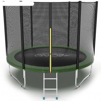 Батут evo jump external 10 ft, d=305 см, с внешней сеткой и лестницей, зел