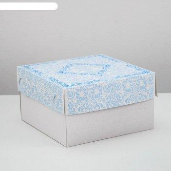 Кондитерская упаковка, короб, 1 кг, голубая, 21 х 21 х 12 см