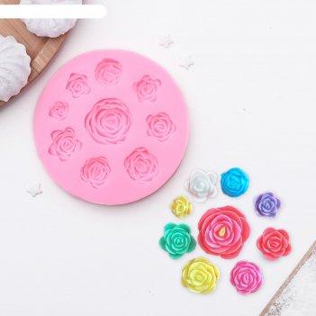 Форма для украшения кондитерских изделий 9,5 см круговорот роз цвета микс