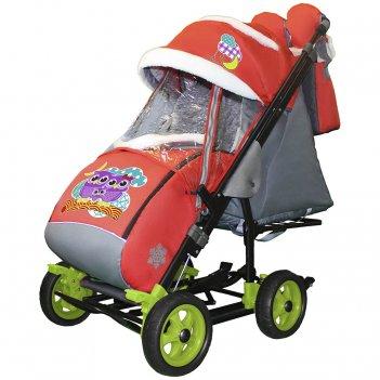 Санки-коляска snow galaxy city-3-1 совушки на красном на больших колёсах+с
