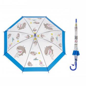Зонт-трость акулы, со свистком, r=43см, цвет синий